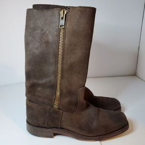 Frye  suede motorcycle moto boots brown size 7